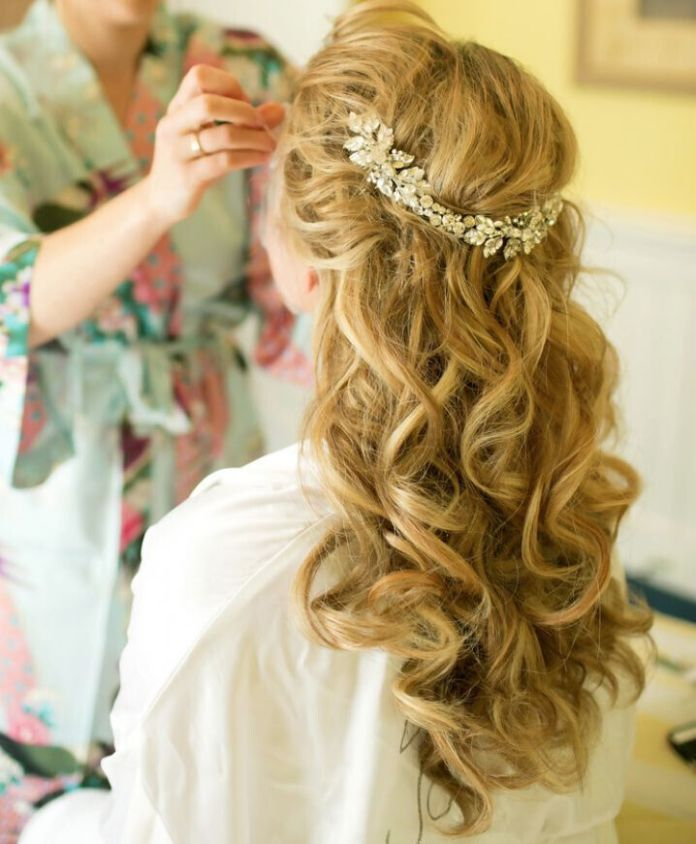 Long-Curly-Hair-for-Bridal-Hairstyles Super Charming Wedding Hairstyles for 2019