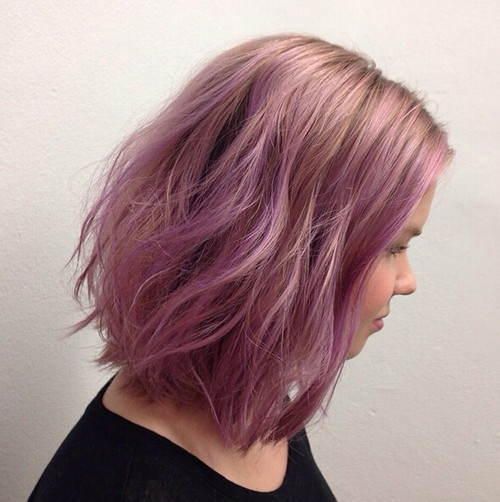 Long-Wavy-Bob-Hairstyle-for-Purple-Hair Modern Bob Hairstyles for 2019 – Best Bob Haircut Ideas