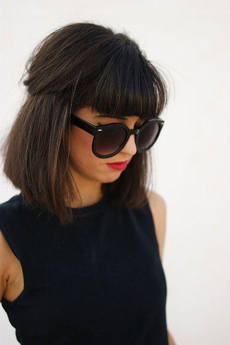 Medium-Bob-Hairstyle-with-Blunt-Bangs Trendiest Bob Haircuts for Women