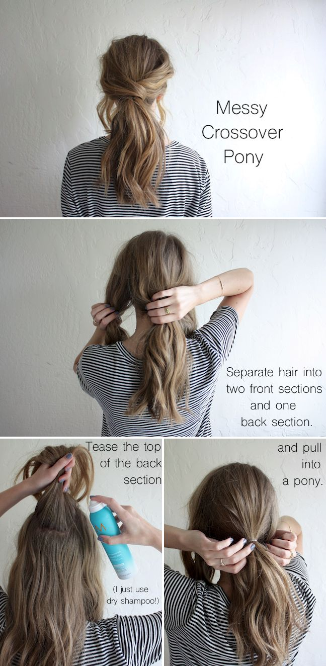 Messy-Crossover-Pony Hair Tutorials to Style Your Hair