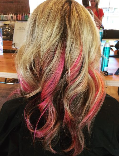 Pink-Highlights Awsome Highlighted Hairstyles for Women – Hair Color Ideas