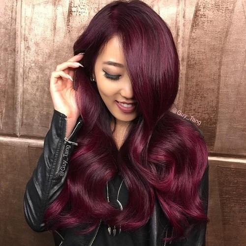 Plum-Princess Trendy Mahogany Hair Color Ideas
