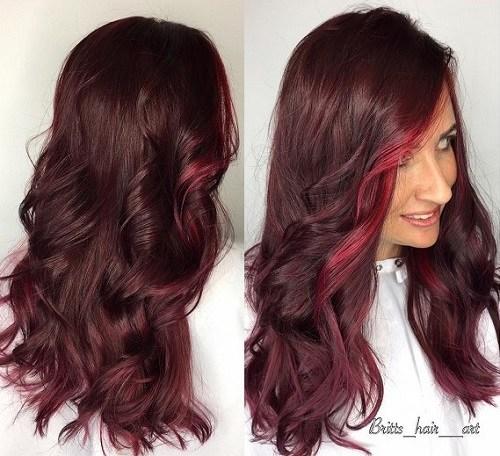Red-Highlighted-Hair Trendy Mahogany Hair Color Ideas