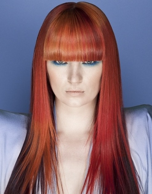 Red-Ombre-Hair-with-Blunt-Bangs Hair Color Trends for 2019: Red Ombre Hairstyles
