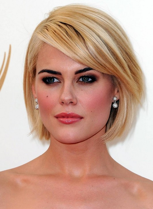 Short-Blonde-Bob-Hairstyle-with-Side-Swept-Bangs Short Bob Haircuts: Hottest Bob Hairstyles 2019