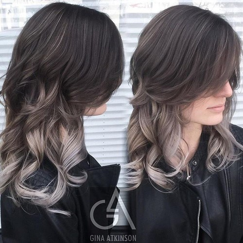 Silver-Ombre-with-Sweeping-Bangs Gorgeous Ways to Rock Blonde and Sliver Hair