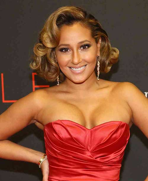 Adrienne-Bailon's-Curly-Bob-Hairstyle Celebrity Short Curly Hairstyles