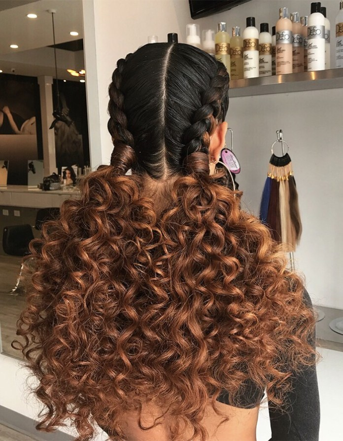 Back-Braided-Hairstyle Worth Trying Curly Hairstyles with Braids