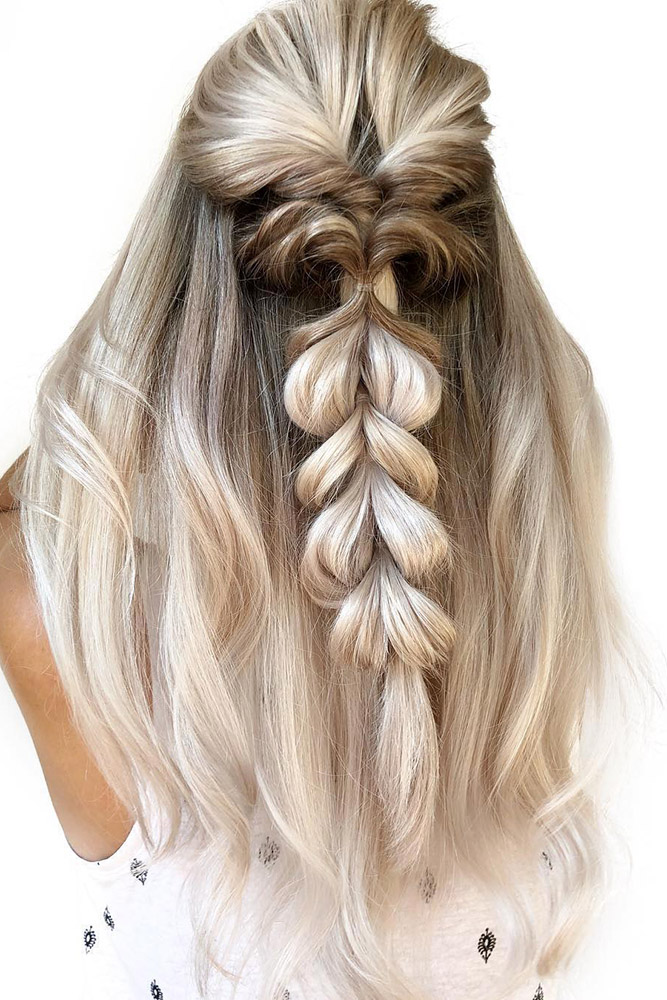 Bloated-Braid-Loop-Hairstyle Classy and Charming Hairstyles for Wedding Guest