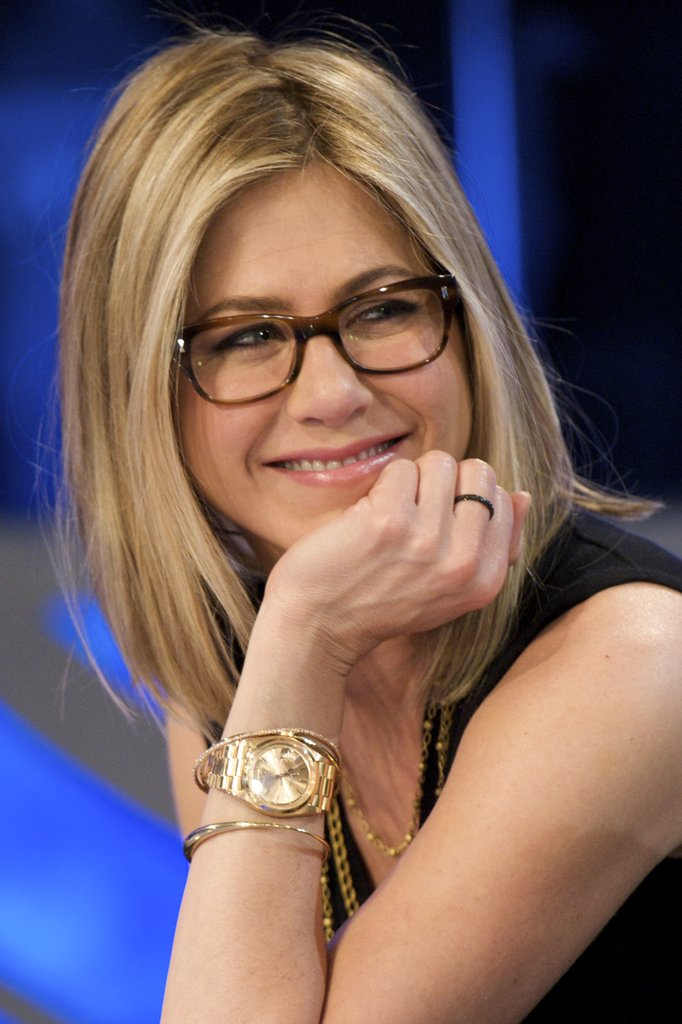 Blonde-Bob-with-Contrast-Color-Strands Hairstyles for Women Over 50 With Glasses