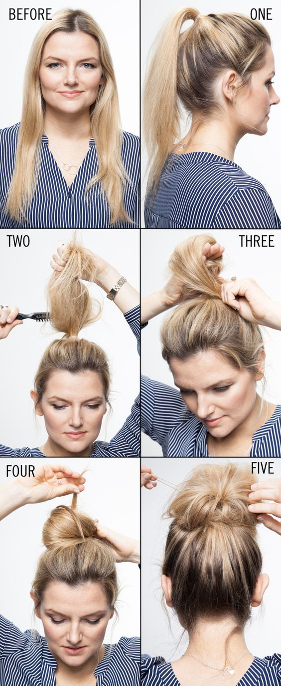 Blonde-Hair-Top-Knot-Look Cool and Cute Summer Hairstyles for Women