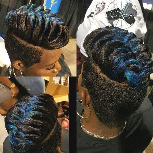 Blue-Black-Braid Faux Hawk Hairstyle for Women – Trendy Female Fauxhawk Hair Ideas
