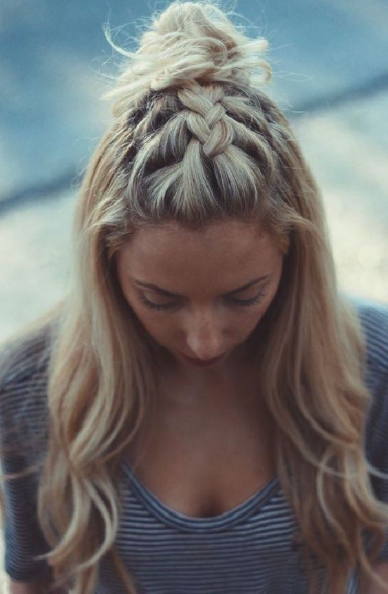 Braided-Bangs-and-Top-Bun-for-Long-Hair Adorable Hairstyles for Long Hair