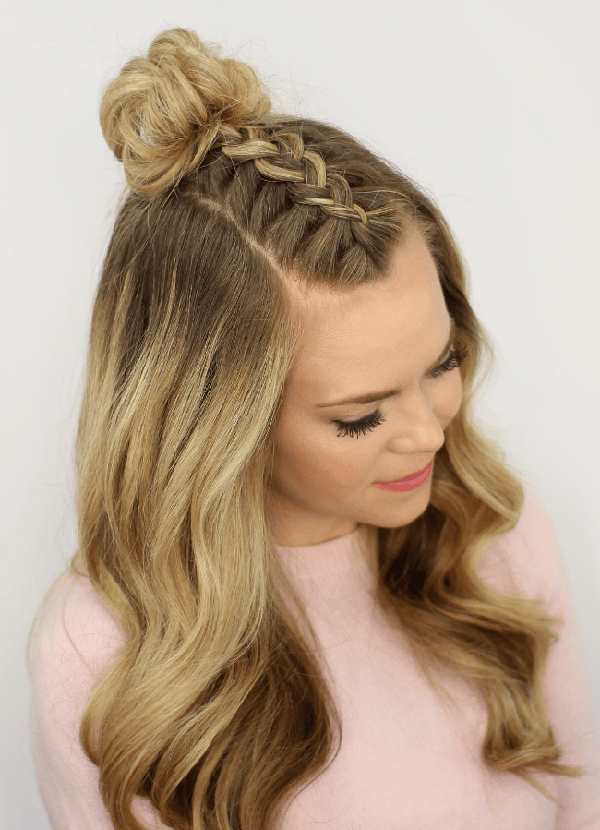 Braided-Bun-on-Top-with-Curly-Hair Worth Trying Curly Hairstyles with Braids