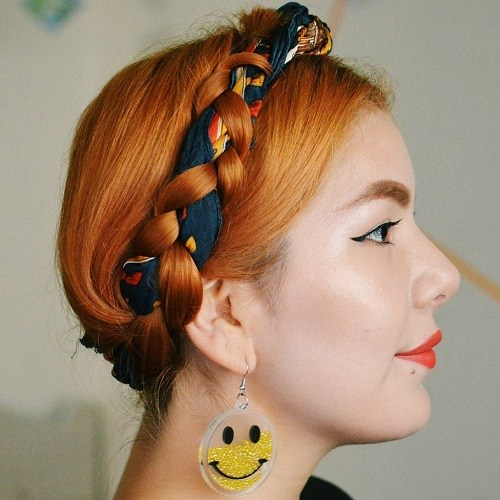 Braided-Head-Scarf Best Milkmaid Hairstyles – Pretty Milkmaid Braid for Women