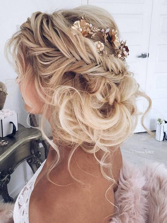 Braided-Loose-Bun Wedding Hair Ideas for Spring