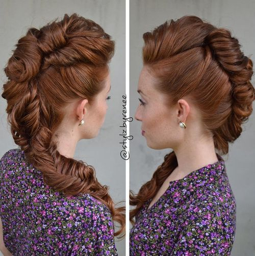 Chunky-Braid Faux Hawk Hairstyle for Women – Trendy Female Fauxhawk Hair Ideas
