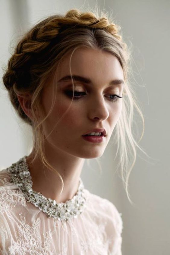 Crown-Braid-with-Strands Wedding Hair Ideas for Spring