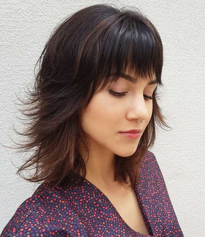 Feathered-Bob-with-Fringes Top Trending Medium Hairstyles for Girls