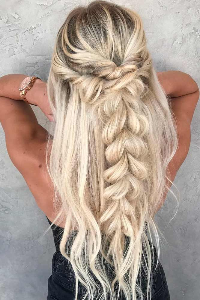 Half-Up-Half-Down-Fishtail-Braid Cool and Cute Summer Hairstyles for Women