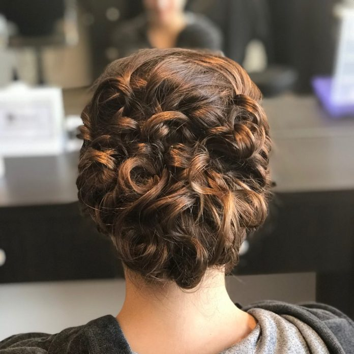 Looped-Rose-Braid-in-Curly-Hair Worth Trying Curly Hairstyles with Braids