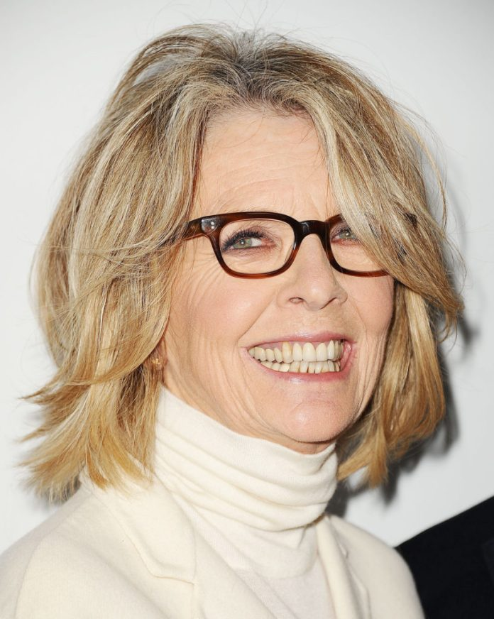 Messy-Bob-With-Long-Side-Swept-Bangs Hairstyles for Women Over 50 With Glasses