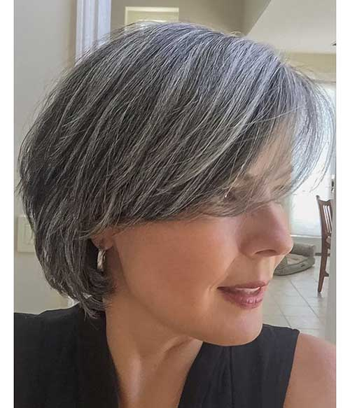 Natural-Grey-Short-Hairstyle Gorgeous Short Hairstyles for Women Over 50