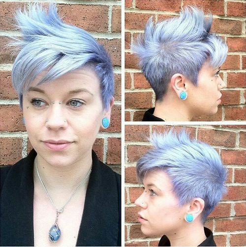 Pastel-Pixie-–-Fauxhawk-inspired-haircut-for-short-hair Faux Hawk Hairstyle for Women – Trendy Female Fauxhawk Hair Ideas