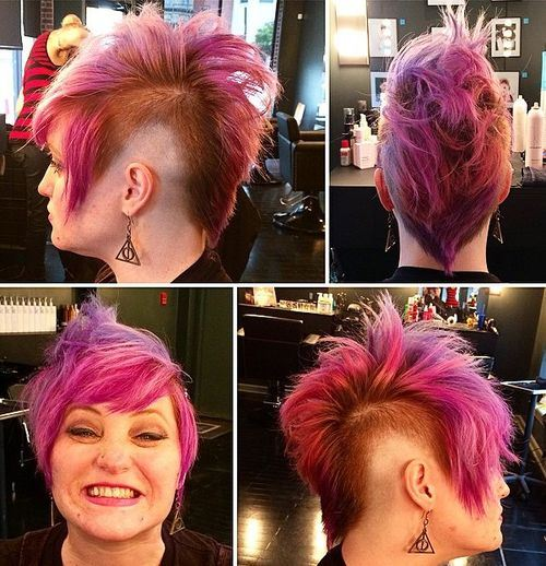Pink-Punk-Pixie Faux Hawk Hairstyle for Women – Trendy Female Fauxhawk Hair Ideas