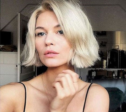 Platinum-Blonde-Adorable-Bob Latest Cute Hairstyles for Short Hair