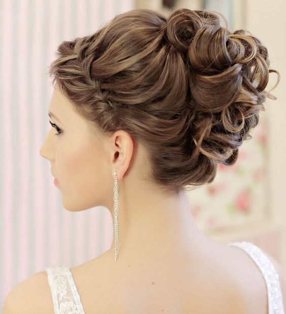 Pretty-Updo-with-Braided-Bangs Wedding Hair Ideas for Spring
