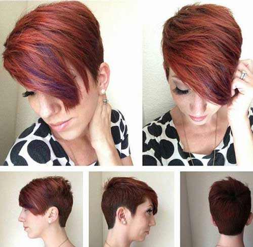 Purple-highlighted-copper-long-pixie Short Hair Styles for Women Over 40