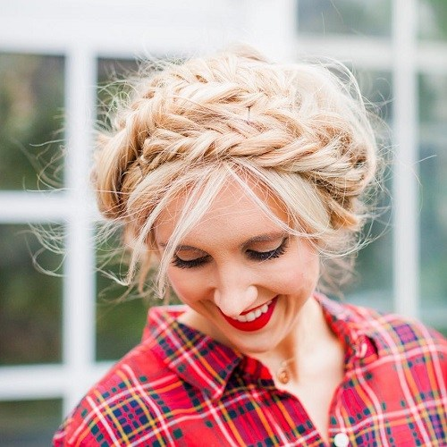 Thick-Fishtail Best Milkmaid Hairstyles – Pretty Milkmaid Braid for Women