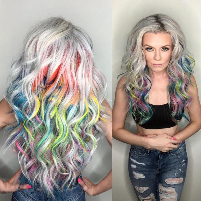 Ash-Blonde-Hair-with-Rainbow-Highlights Best and Beautiful Hairstyles with Color