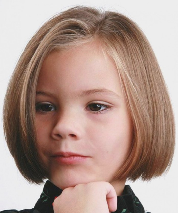 Asymmetric-Bob-Hairstyle Cute and Adorable Little Girl Haircuts