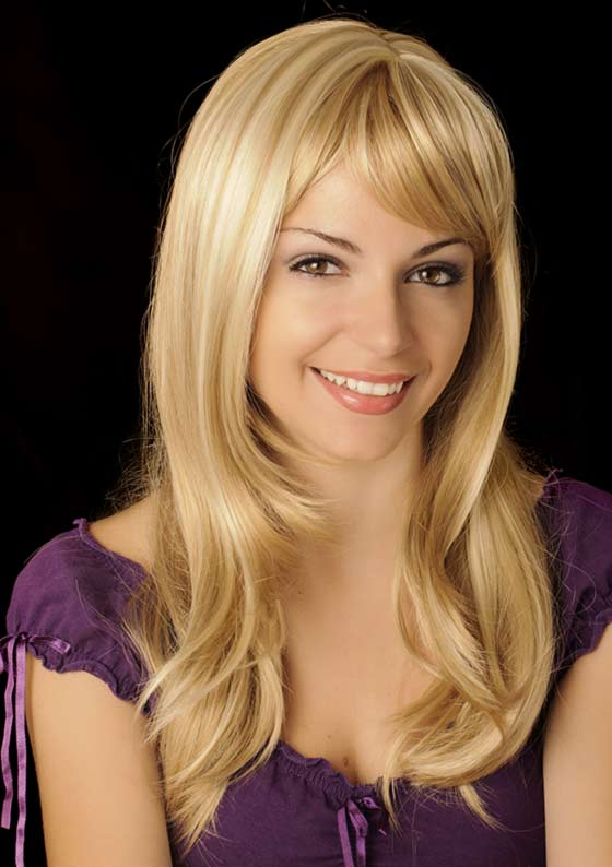Barbie-Blonde-Layers Layered Hairstyles With Bangs