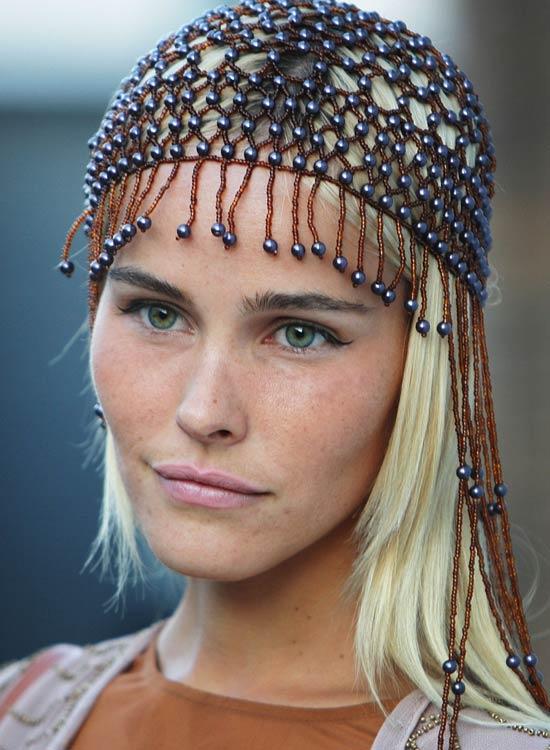 Beaded-Bohemian-Cap Best Hippie Hairstyles