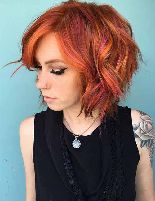 Bright-Peach-Layered-Bob Lovely Styling Ideas For Layered Bob Hair