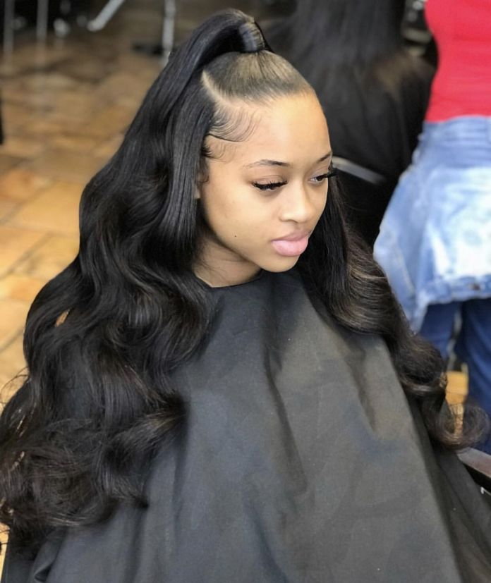 Classic-Hairstyle-for-Dark-Beauties-with-a-Blend-of-Flattened-and-Voluminous-Look Most Stylish Prom Hairstyles for Black Girls