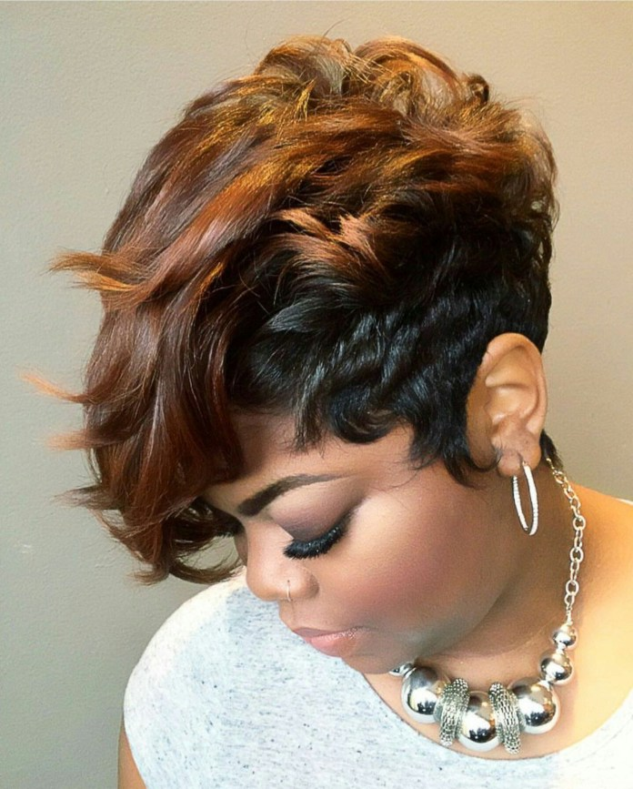 Curls-and-Waves-Short-Hairstyle Best African American Hairstyles with Color