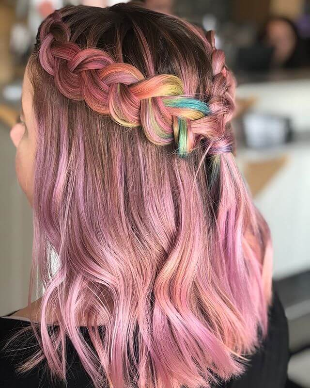Cute-Rainbow-Braids Best and Beautiful Hairstyles with Color