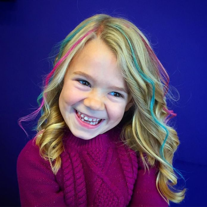Deep-Side-Parted-Colored-Haircut Cute and Adorable Little Girl Haircuts