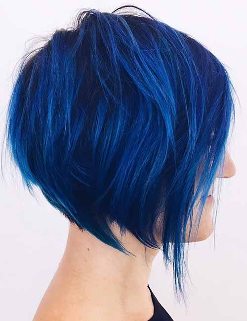 Electric-Blue-Stacked-Bob Lovely Styling Ideas For Layered Bob Hair