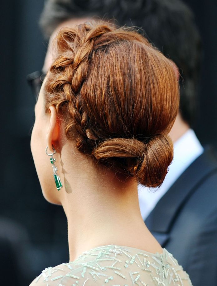 Embellished-Chignon-with-Braid Most Adorable Long Hairstyles with Braids
