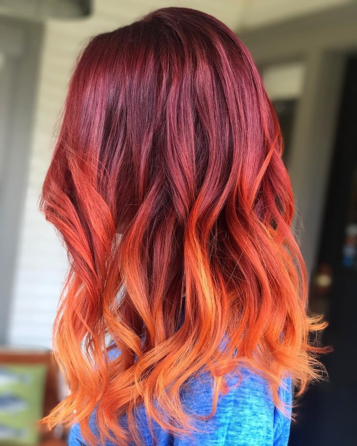 Fiery-Red-Ombre Best and Beautiful Hairstyles with Color