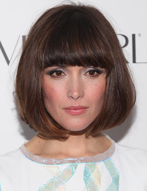 Full-Bangs-Blunt-Cut Celebs With Stunning Short Hairstyles