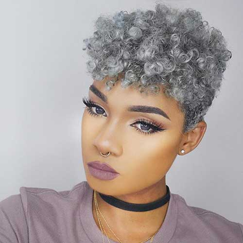 Grey-Colored Latest Short Haircuts for African American Women