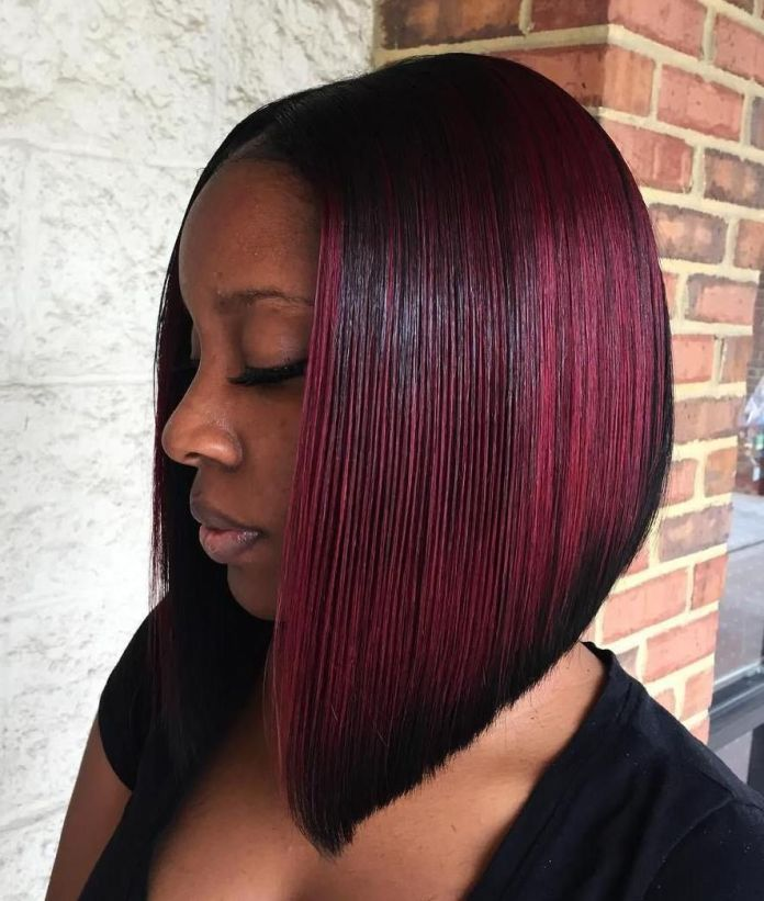 Inverted-Blunt-with-Copper-Mahogany-Balayage Exclusive African American Bob Hairstyles