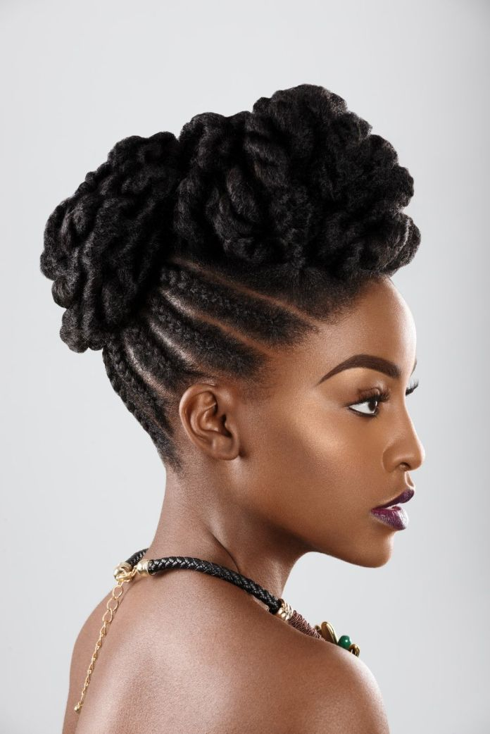 Ma-Coiffure-Cornrow-Braided-Top-Knot Most Stylish Afro Hairstyles for Women to Look Stunning