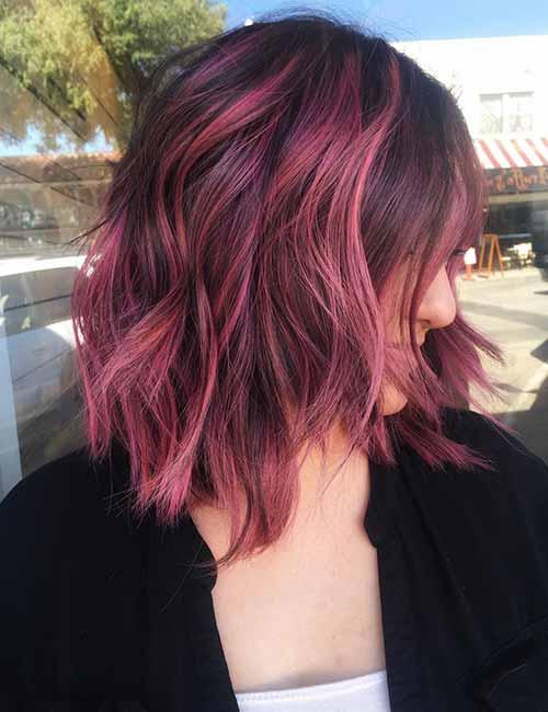 Magenta-Balayage-Layered-Bob Lovely Styling Ideas For Layered Bob Hair